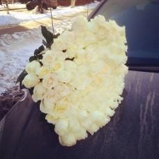 101 эквадорская белая роза 60 см
