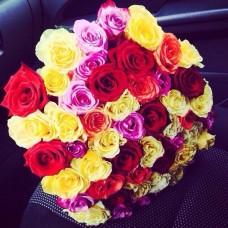 51 Премиум эквадорская роза ассорти
