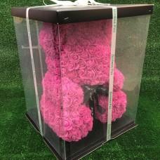 Большой розовый мишка из роз